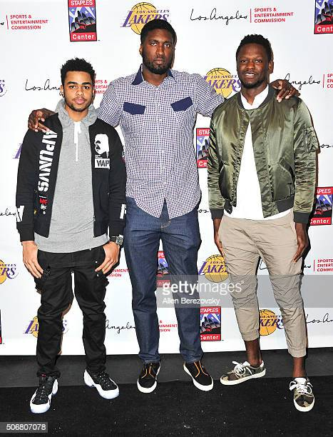 NBA players D'Angelo Russell Roy Hibbert and Julius Randle attend the 12th Annual Lakers AllAccess event at Staples Center on January 25 2016 in Los...