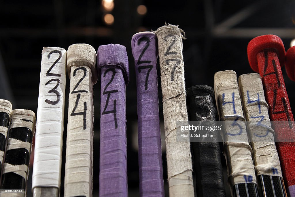 Players decorated their sticks with colored tape for Hockey Fights Cancer night between the Florida Panthers and the Buffalo Sabres at the BB&T Center on October 25, 2013 in Sunrise, Florida.