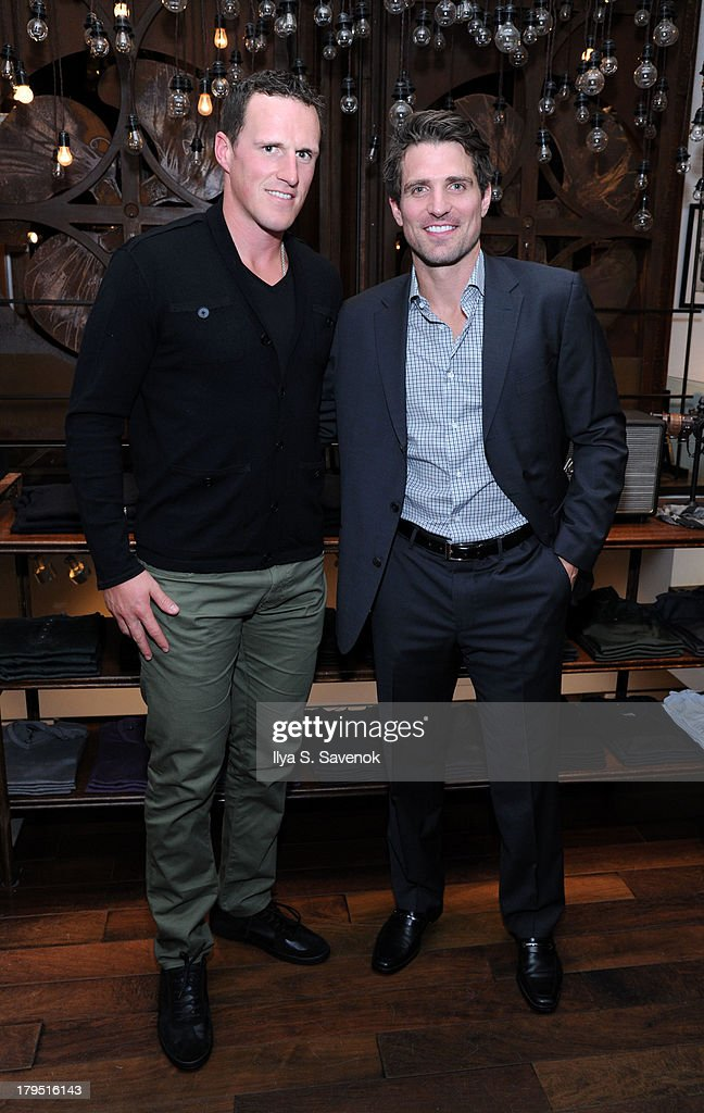 NHL players Dion Phaneuf and Patrick Sharp attend John Varvatos event as part of 2013 NHL/NHLPA Player Media Tour on September 4, 2013 in New York City.