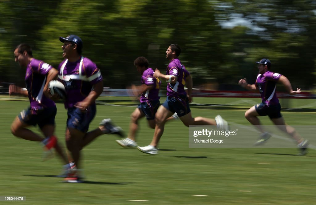 Players do sprints up and down the field during a Melbourne Storm NRL training session at Gosch's Paddock on December 10, 2012 in Melbourne, Australia.