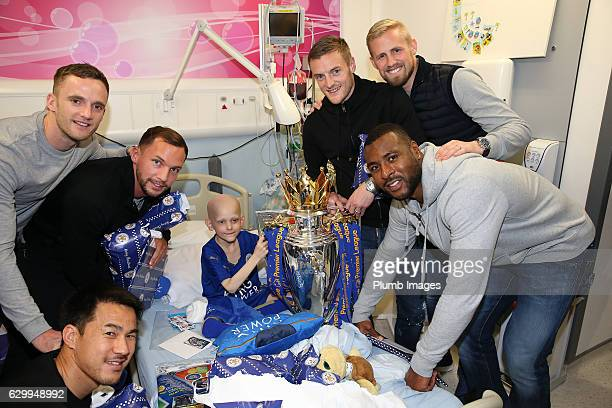 Players during the Leicester City Players Deliver Christmas Presents to Patients at Leicester Royal Infirmary on December 15 2016 in Leicester United...