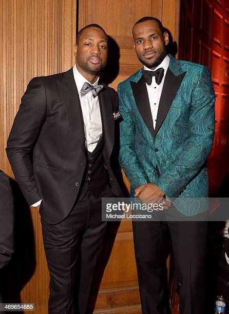 NBA players Dwyane Wade and LeBron James attend GQ LeBron James NBA All Star Party Sponsored By Samsung Galaxy And Beats at Ogden Museum's Patrick F...