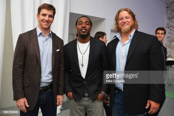 NFL players Eli Manning Hakeem Nicks and Nick Mangold attend DIRECTV's 2013 National Ad Sales Upfront on May 7 2013 in New York City