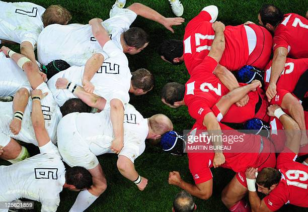 Players engage in a scrum during the 2011 Rugby World Cup pool B match England vs Georgia at Otago Stadium in Dunedin on September 18 2011 AFP PHOTO...