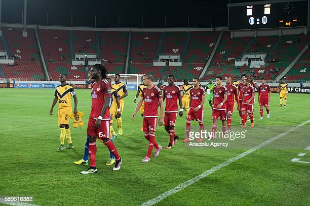 Players enter the picth during the Group A match of CAF Champions League between Wydad Casablanca and ASEC at the Prince Moulay Abdellah Stadium in...
