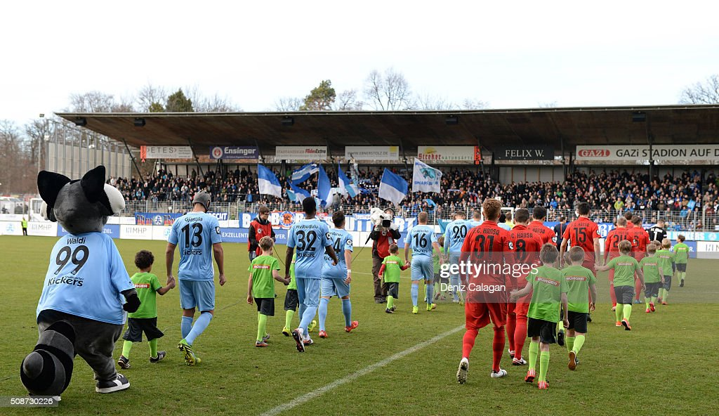 Players enter the pitch during the 3. Liga match between SV Stuttgarter Kickers and FC Hansa Rostock at GAZI-Stadion on February 6, 2016 in Stuttgart, Germany.