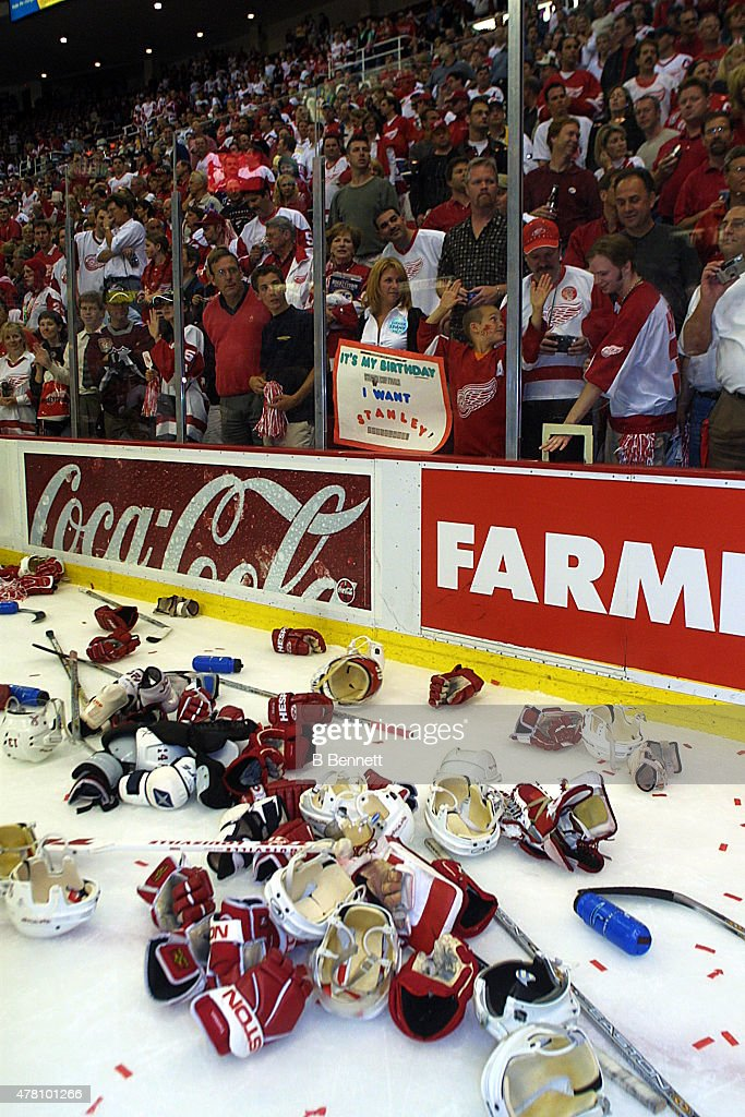 Players equipment liters the ice following an NHL Stanley Cup victory by the Detroit Red Wings over the Carolina Hurricanes on June 13, 2002 at the Joe Louis Arena in Detroit, Michigan.
