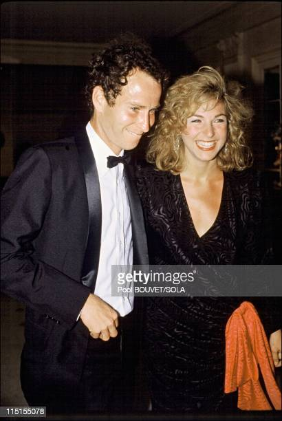 Players' evening at Roland Garros in Paris France on May 04 1985 Rumors and denials galore surround the romance of the engaged couple John Mc Enroe...