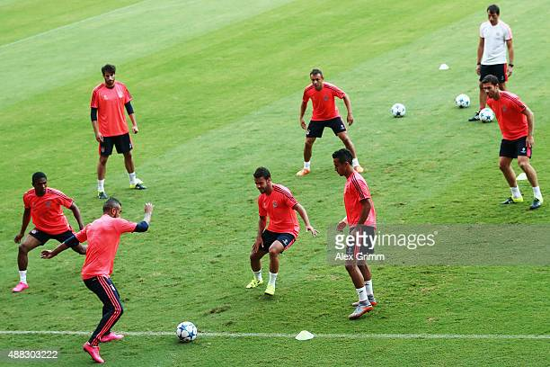 Players exercise during a Bayern Muenchen training session ahead of their UEFA Champions League Group F match against Olympiacos FC at Karaiskakis...