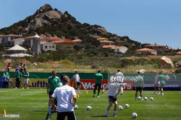 Players exercise during a Germany training session at Campo Sportivo Comunale Andrea Dora on May 12 2012 in Abbiadori Italy