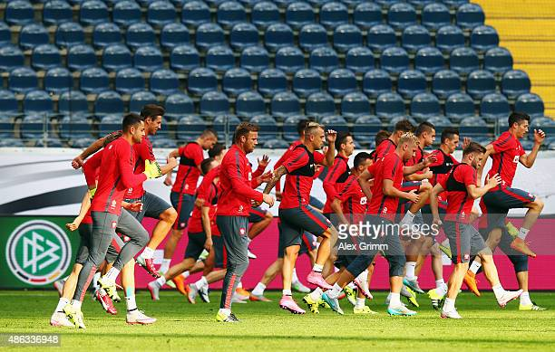 Players exercise during a Poland training session at CommerzbankArena on September 3 2015 in Frankfurt am Main Germany