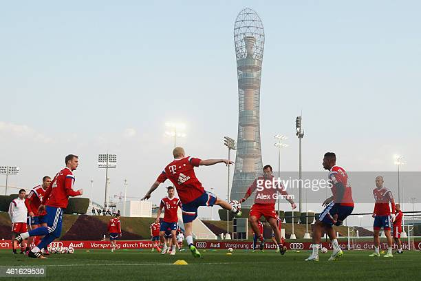 Players exercise during day 8 of the Bayern Muenchen training camp at ASPIRE Academy for Sports Excellence on January 16 2015 in Doha Qatar