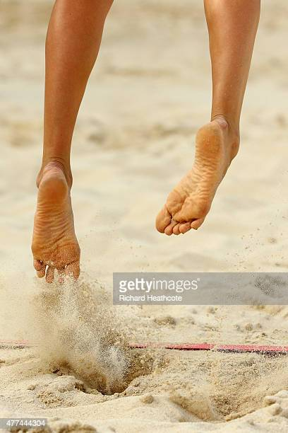 A players feet kick up sand as they serve during the Beach Volleyball during day five of the Baku 2015 European Games at the Beach Arena on June 17...
