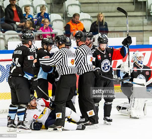 Players fight after Jonkoping tries to get a goal during the Champions Hockey League group stage game between SonderjyskE Vojens and HV71 Jonkoping...