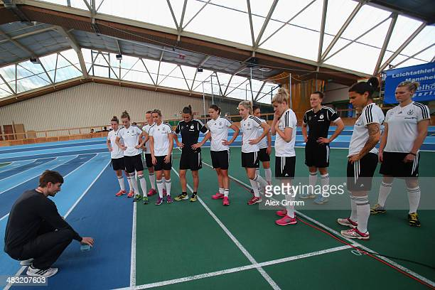 Players follow the instructions during a Germany women's national team performance test on April 7 2014 in Mannheim Germany