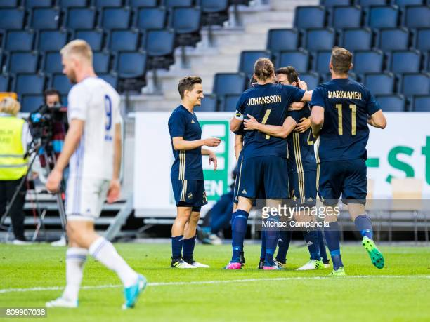 Players from AIK celebrate the 30 goal from Stefan Ishizaki during a UEFA Europe League qualification match at Friends arena on July 6 2017 in Solna...
