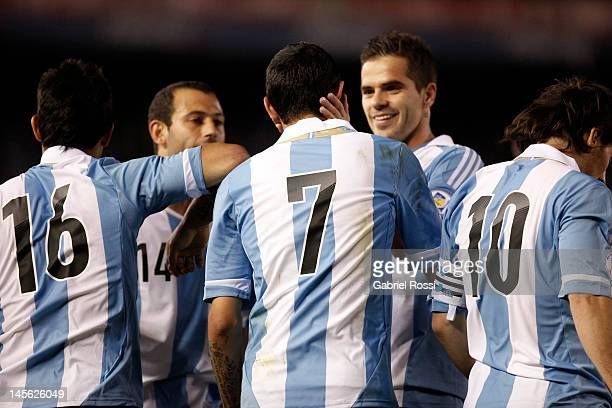 Players from Argentina celebrate a goal during a match between Argentina and Ecuador as part of the fifth round of the South American Qualifiers for...
