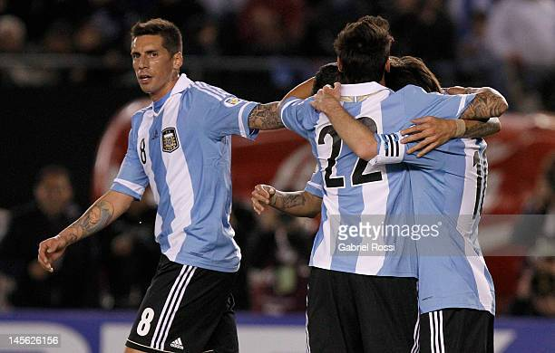 Players from Argentina celebrate a goal during the match between Argentina and Ecuador at Antonio V Liberti stadium during the fifth round of the...