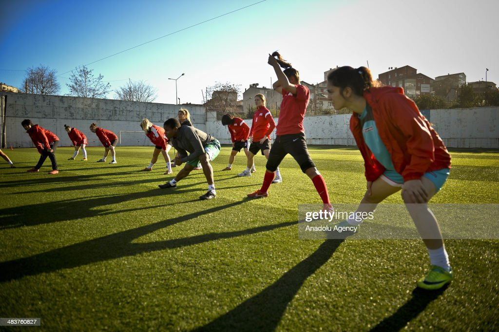 Players from Atasehir Belediyespor soccer team exercise during their training in Istanbul, Turkey on April 9, 2014. Players of Atasehir Belediyespor in Turkish Women's First Football League, women players play soccer at the same time they continue their education. Women players of soccer team indulging their passion for soccer requires more than just talent and training.