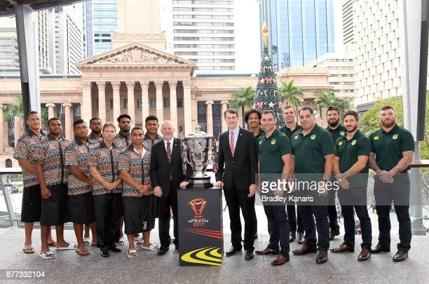 Players from Australia and Fiji pose for a group photo during a Rugby League World Cup Civic Reception at King George Square on November 22 2017 in...