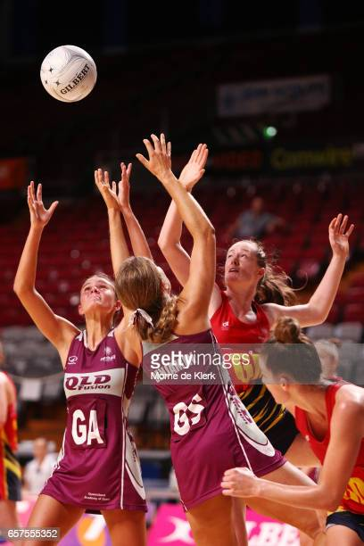 Players from both teams compete for the ball during the round six ANL match between the Southern Force and the QLD Fusion at Titanium Security Arena...