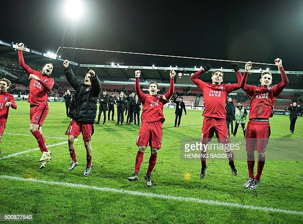 Players from FC Midtjylland celebrates after the match against Club Brugge during the UEFA Europa League group D football match between FC...