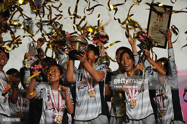 Players from INAC Kobe Leonessa celebrate with the trophy after the 38th Empress's Cup Final between Albirex Niigata Ladies and INAC Kobe Leonessa at...