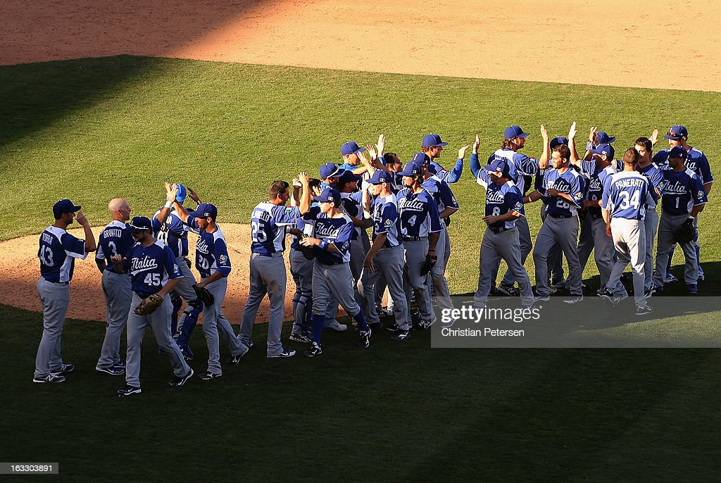 Players from Italy celebrate after defeating Mexico 6-5 in the World Baseball Classic First Round Group D game at Salt River Fields at Talking Stick on March 7, 2013 in Scottsdale, Arizona.
