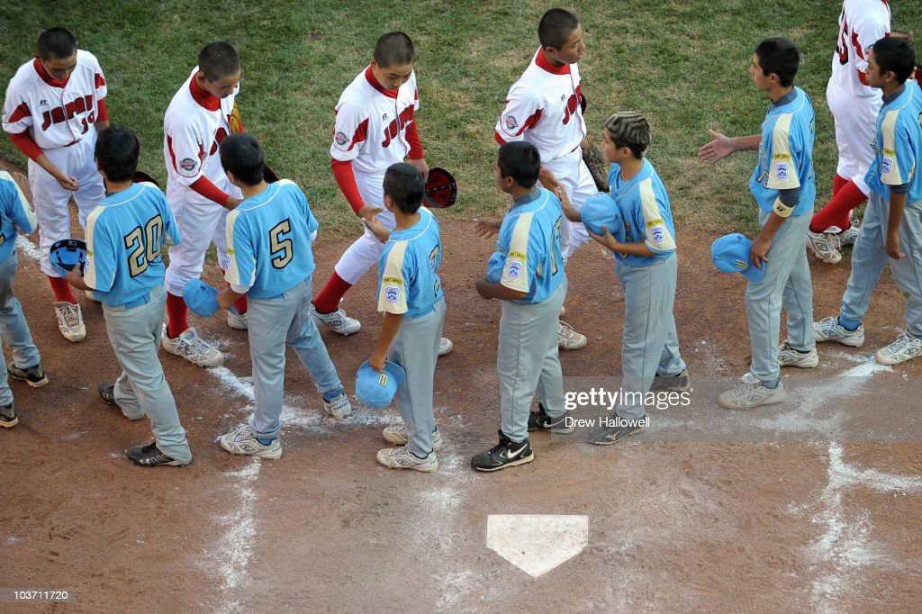 Players from Japan and the United States Little League teams, shake hands after the game on August 29, 2010 in South Willamsport, Pennsylvania. Japan won the Little League World Series Championship 4-1.