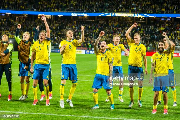 Players from Sweden celebrate their 21 victory during the FIFA 2018 World Cup Qualifier between Sweden and France at Friends Arena on June 9 2017 in...