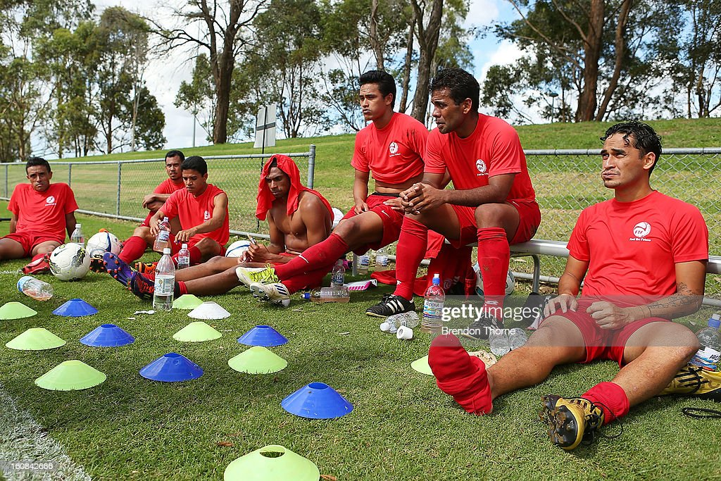Players from Tahiti rest at half time during the friendly match between Sydney FC and Tahiti at Macquarie Uni on February 6, 2013 in Sydney, Australia.
