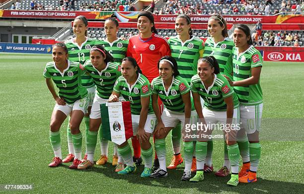 Players from team Mexico pose for a team photo before the FIFA Women's World Cup Canada 2015 Group F match between Mexico and France at Lansdowne...