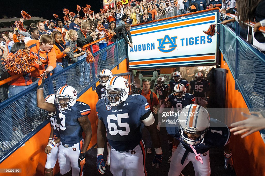 Players from the Auburn Tigers walk out of their tunnel before their game against the Georgia Bulldogs on November 10, 2012 at Jordan-Hare Stadium in Auburn, Alabama. Georgia defeated Auburn 38-0 and clinched the SEC East division.
