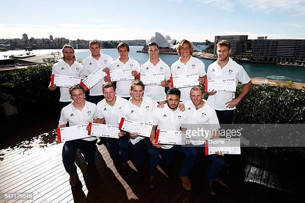 Players from the Australian Men's Sevens Rugby Teams pose during the Australian Olympic Games rugby sevens team announcement at Museum of...