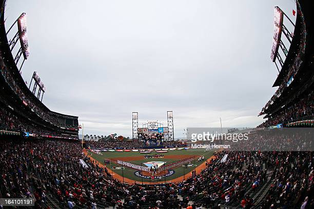 Players from the Dominican Republic and Puerto Rico take part in a pregame ceremony prior to the Championship Round of the 2013 World Baseball...