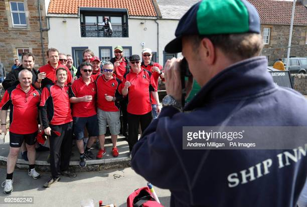 Players from the Eccentric Flamingos CC have their picture taken ahead of the beach cricket match in Elie between the Ship Inn cricket team in Elie...