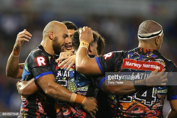 Players from the indigenous All Stars celebrate a try during the NRL All Stars match between the 2017 Harvey Norman All Stars and the NRL World All...
