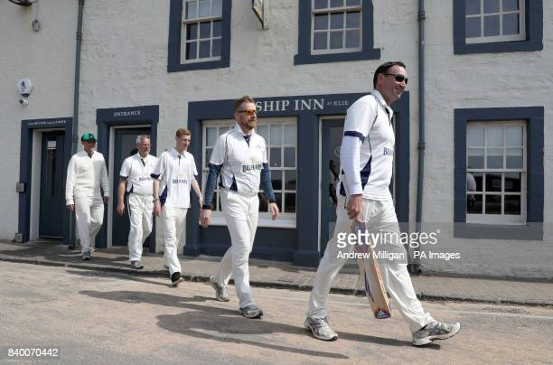 Players from the Ship Inn Cricket Club before their match against the Eccentric Flamingoes Cricket Club on Sunday April 30th in front of the pub in...