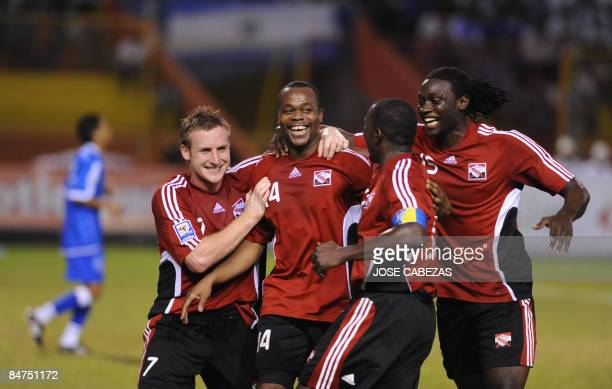 Players from the Trinidad Tobago national football team celebrates their goal against El Salvador during their FIFA World Cup South Africa2010...