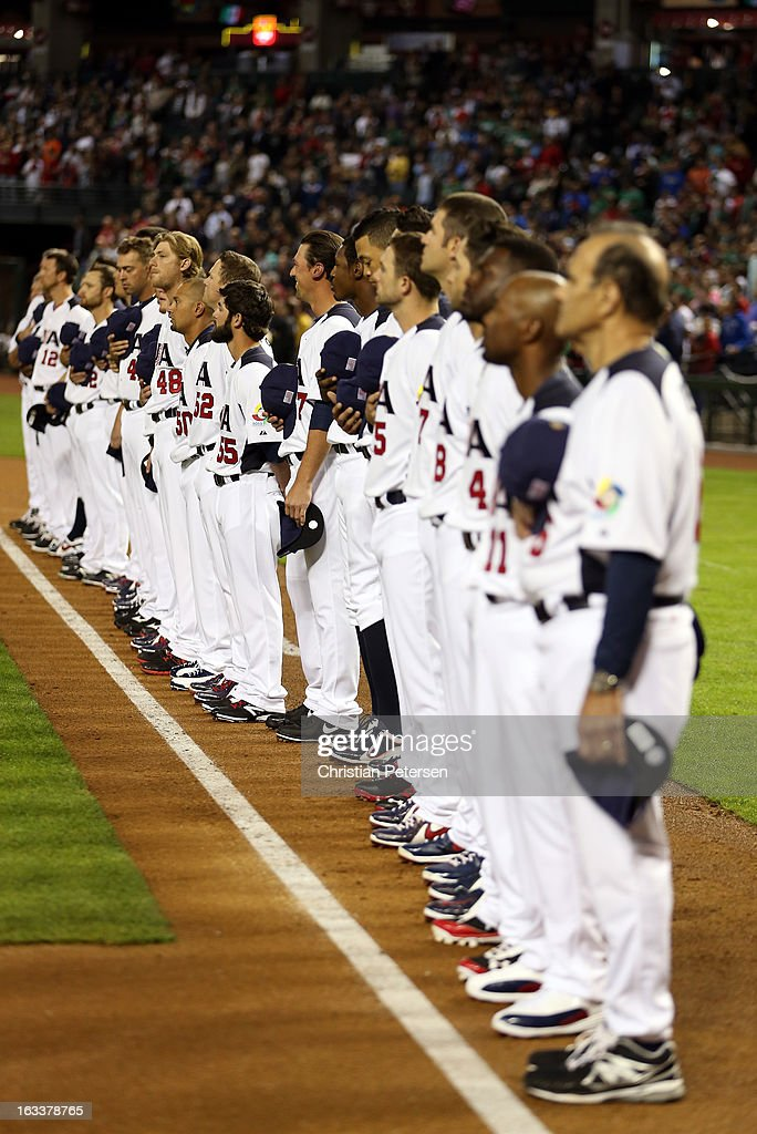 Players from the United States line up on the foul line during pregame against Mexico during the World Baseball Classic First Round Group D game at Chase Field on March 8, 2013 in Phoenix, Arizona.