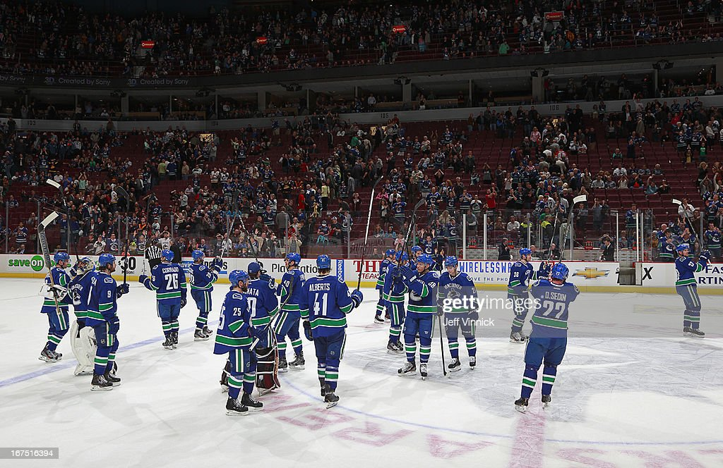 Players from the Vancouver Canucks salute the fans after their final NHL home game against the Anaheim Ducks at Rogers Arena April 25, 2013 in Vancouver, British Columbia, Canada. Anaheim won 3-1.