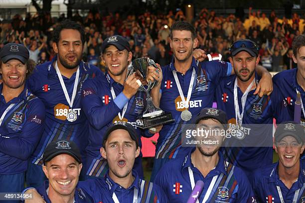 Players from the victorious Gloustershire team parade the trophy after the Royal London OneDay Cup Final between Surrey and Gloustershire at Lord's...