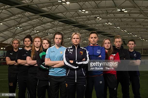 Players from WSL 2 Sheffield FC's Carla Ward Durham FC's Helen Alderson London Bees' Sophie Harris Yeovil Town's Ellie Curson Aston Villa's Beth...
