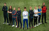 Players from WSL1 Manchester City's Marie Hourihan Birmingham City's Aoife Mannion Sunderland's Beth Mead Arsenal's Jemma Rose Chelsea's Jade Bailey...