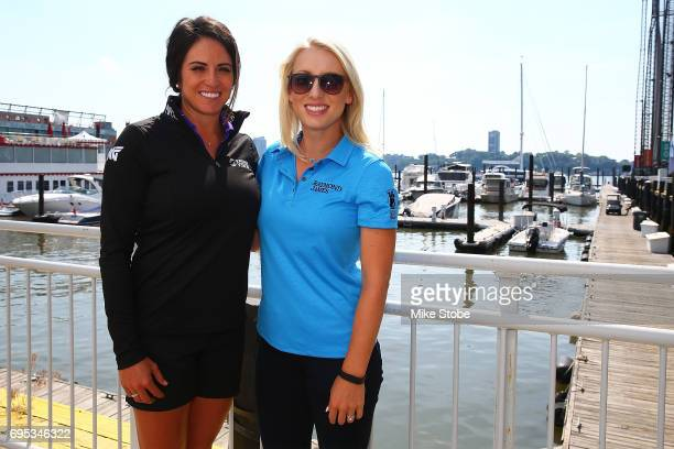 LPGA players Gerina Piller and Brooke Pancake pose for a photo at LPGA Tips Sips Eventat Chelsea Piers on June 12 2017 in New York City