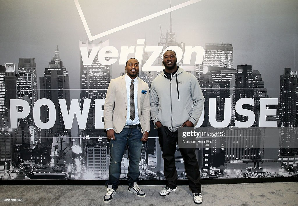 Players Hakeem Nicks (L) and Muhammad Wilkerson attend the Verizon Power House First Look With NFL Stars Muhammad Wilkerson And Hakeem Nicks at Bryant Park on January 29, 2014 in New York City.