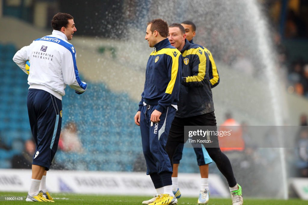 Players have to avoid the sprinklers during the FA Cup with Budweiser Third Round match between Leeds United and Birmingham City at Elland Road Stadium on January 5, 2013 Leeds, England.