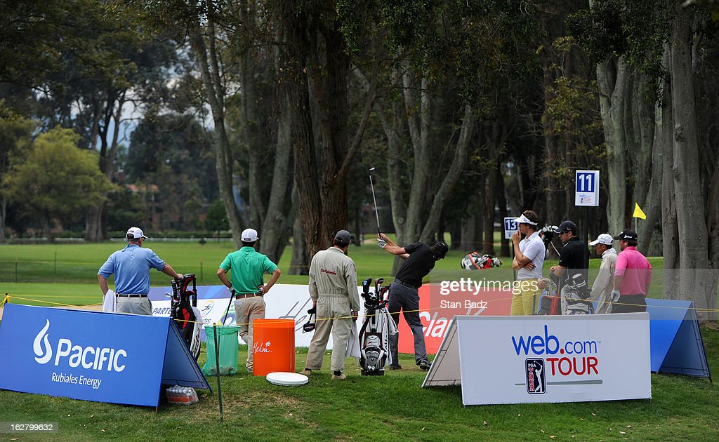 Players hit from the 11th tee box during the practice round for the Colombia Championship at Country Club de Bogotá on February 27, 2013 in Bogotá, Colombia.