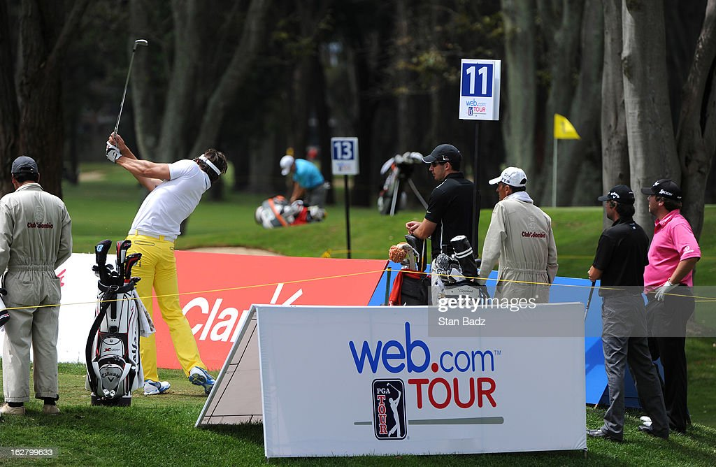 Players hit from the 11th tee box during the practice round for the Colombia Championship at Country Club de Bogota on February 27, 2013 in Bogota, Colombia.