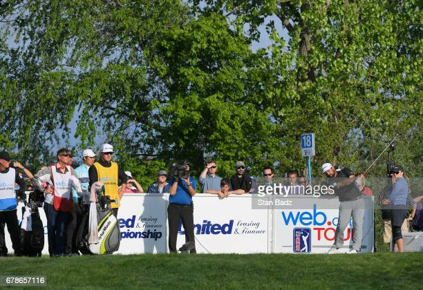 Players hits drives on the 18th hole during the final round of the Webcom Tour United Leasing Finance Championship at Victoria National Golf Club on...